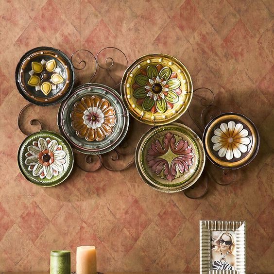 Flower pattern wall plate decorations