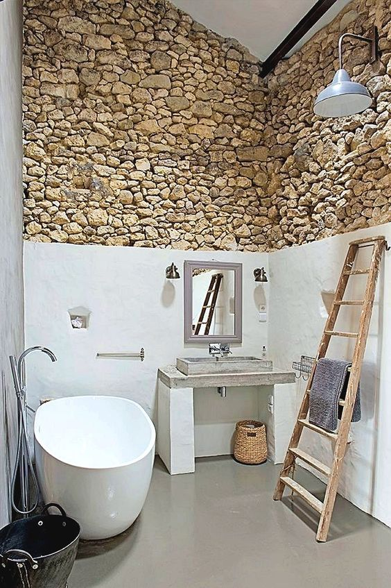 Natural accent in the small rustic bathroom