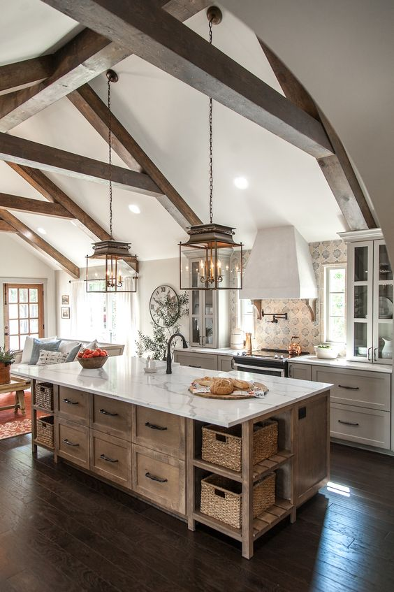 High roof in the modern rustic kitchen style