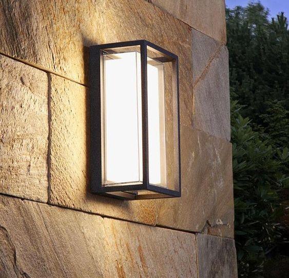 Rectangle glass exterior wall light