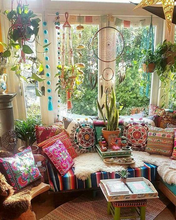 Green fresh bohemian sunroom