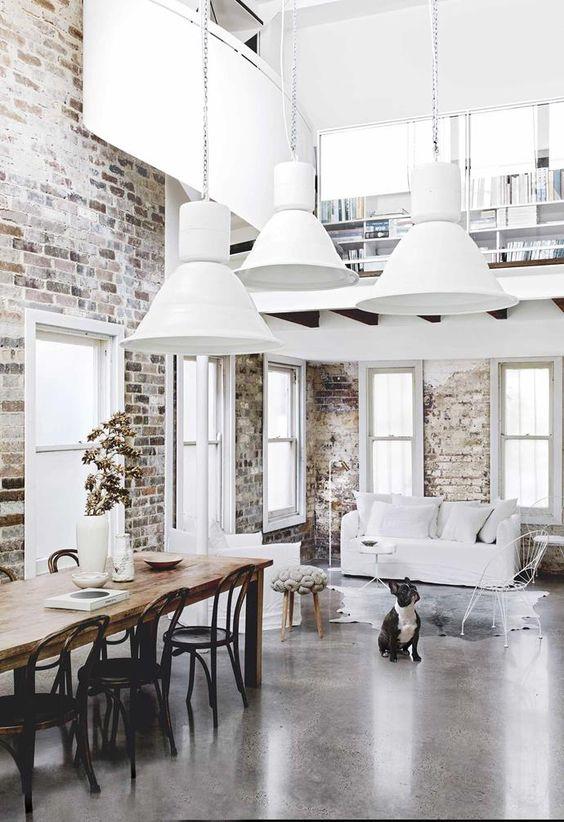 White minimalist industrial dining room decoration
