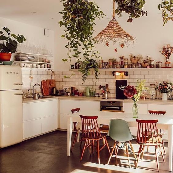 Bohemian industrial kitchen dining room design