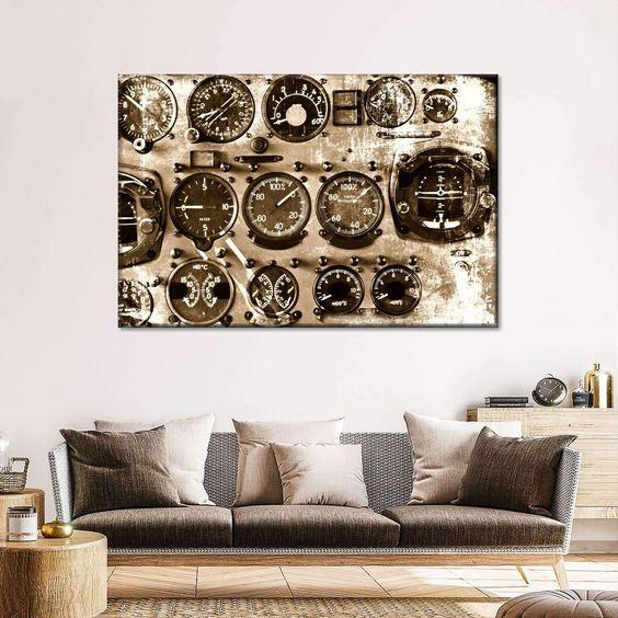 Clock canvas industrial wall art