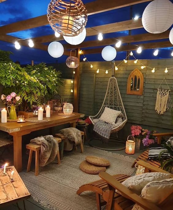 Bohemian lighting in the small patio