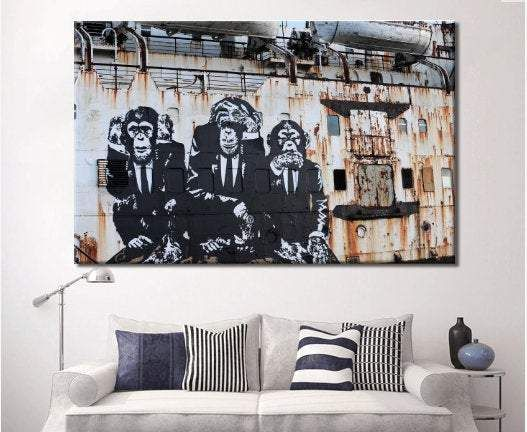 Monkey canvas wall art gives an strong industrial design
