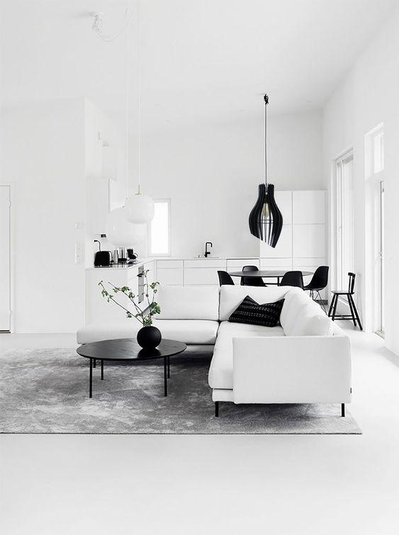 Monochrome minimalist industrial living room decoration