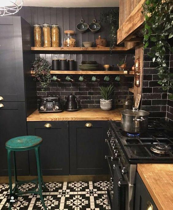 Dark impression for industrial small kitchen