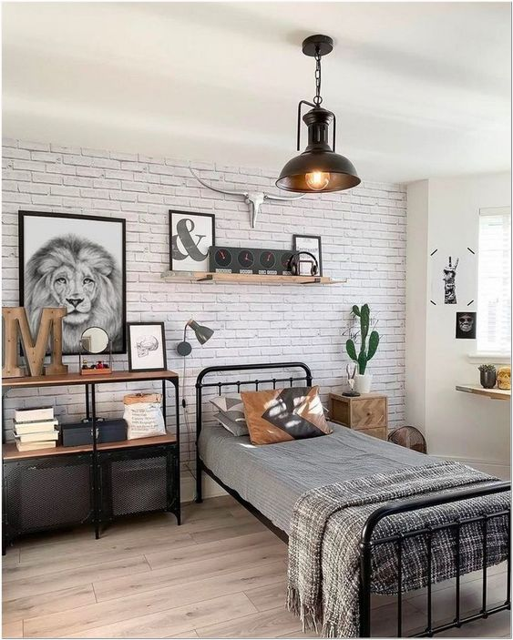 Small bed in the industrial bedroom for teenagers