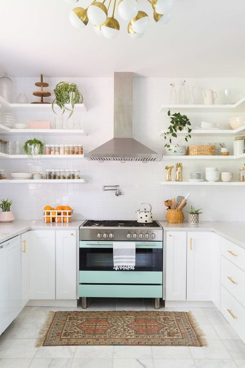 White small kitchen in pastel color