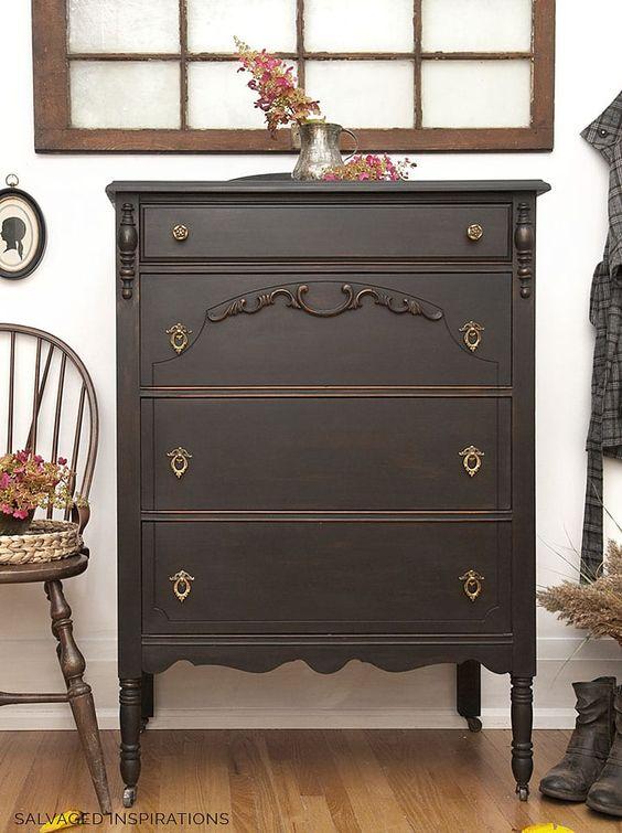 Dark brown industrial vintage dresser