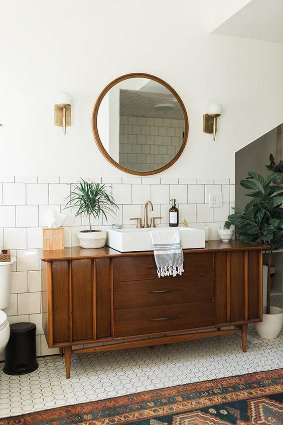 Dark brown bathroom vanity