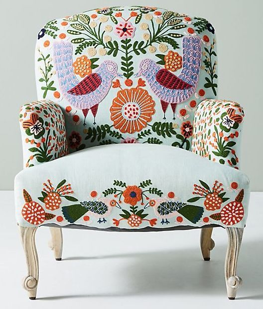 Colorful floral pattern single sofa