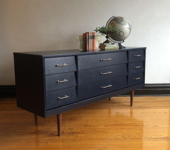 Black industrial vintage dresser