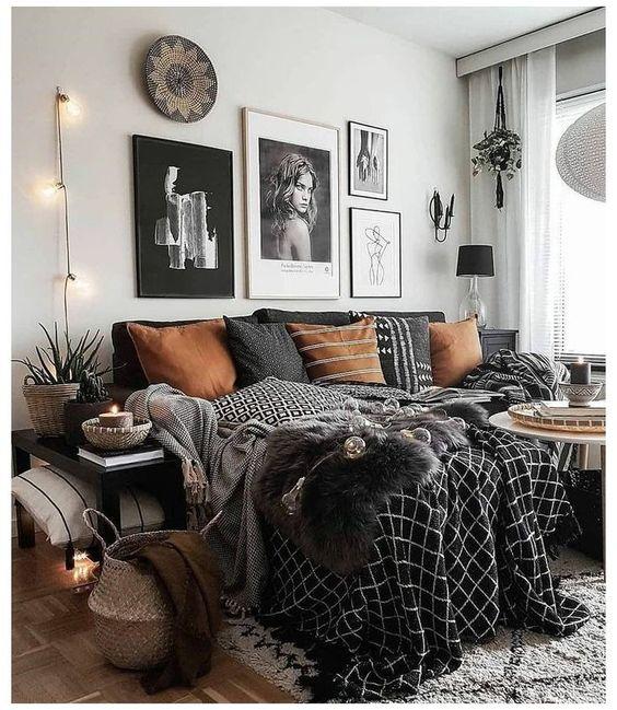 Monochrome bohemian bedroom concept