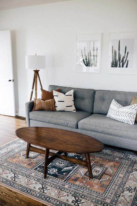 Simple bohemian industrial apartment living room