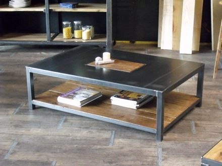 Black rectangle coffee table with industrial accent