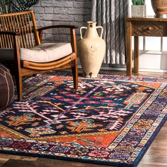 Complex pattern bohemian outdoor rug