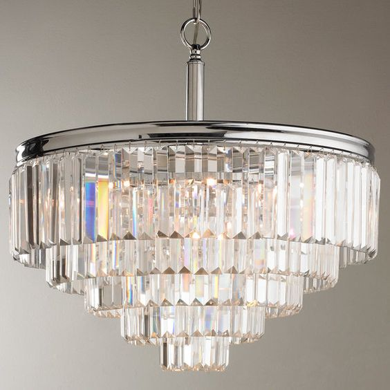 Crystal chandelier for an industrial room