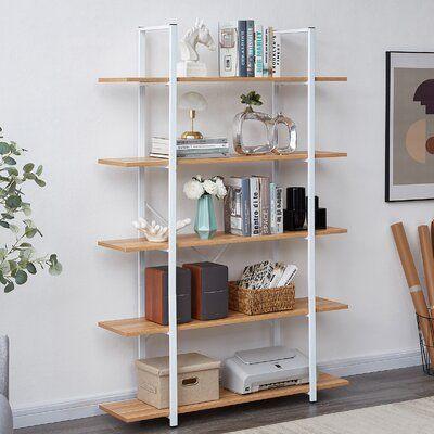 Scandinavi-industrial wooden bookshelf