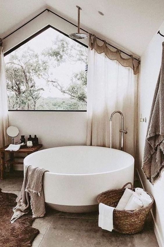 Beige warm modern bohemian bathroom