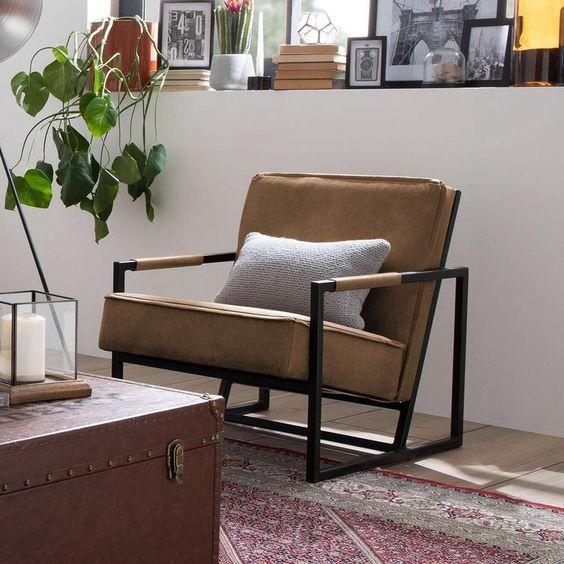 Dark brown Scandinavian industrial single sofa