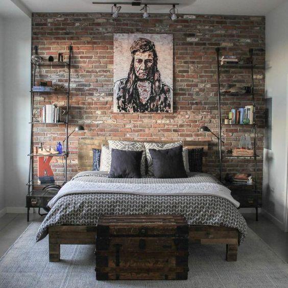 Brick walls brings a modern look in the industrial chic bedroom