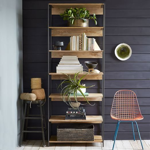 Black metal with wooden materials bookshelf