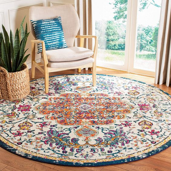 Round floral pattern rugs