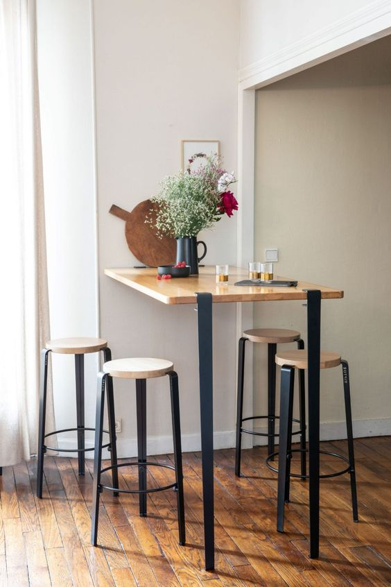 High dining table style for an industrial design