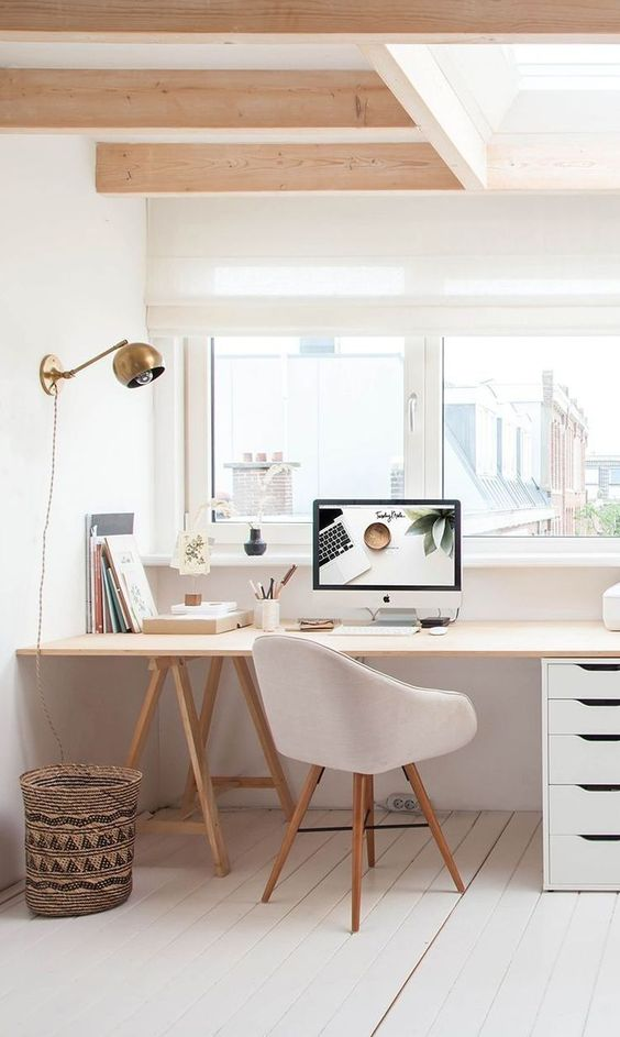 White furniture for Scandinavian industrial home office