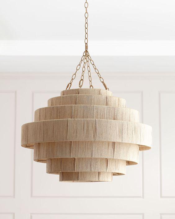 Beige wooden pendant lamp