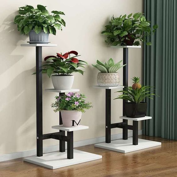 White basic pot with stunning plant pot stands