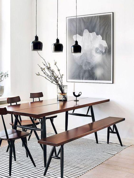 Simple Scandinavian industrial dining room