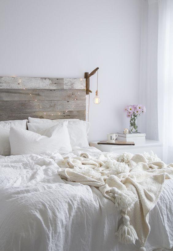 White minimalist industrial bedroom decoration