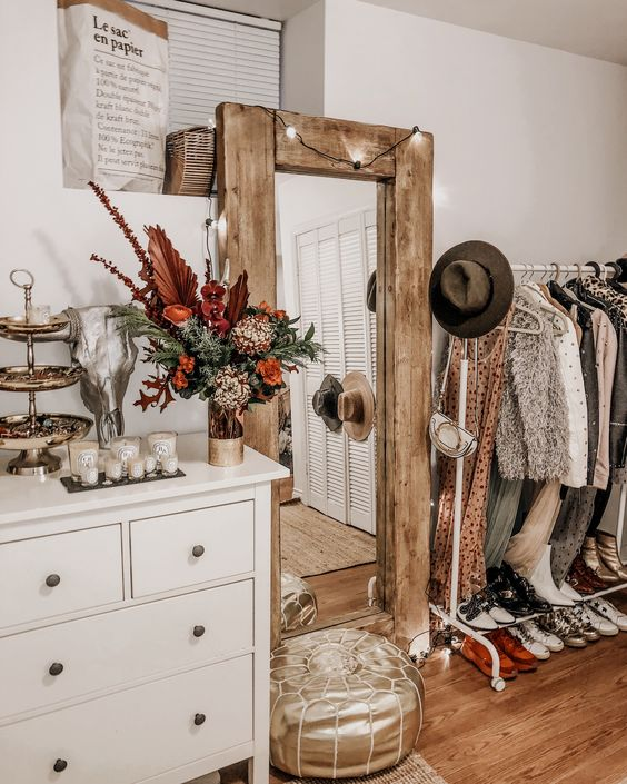 Old wooden mirror in the bohemian style