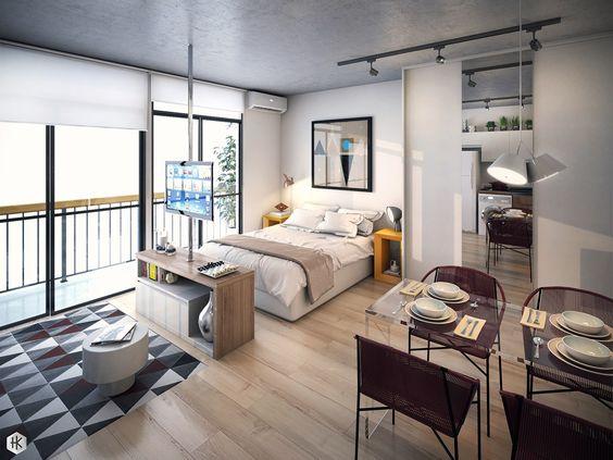 Cozy white studio apartment