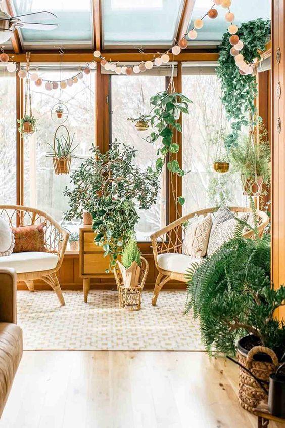 Aesthetic bohemian sunroom