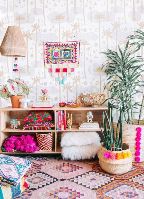 Wallpaper with colorful furniture