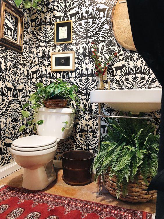 Bohemian bathroom interior style