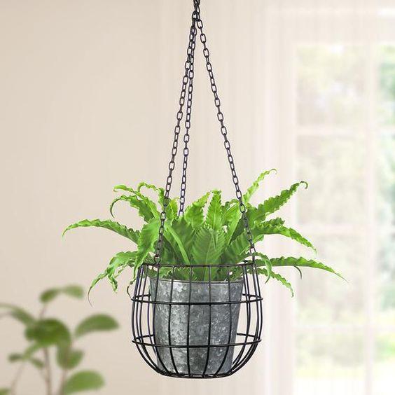 Metal industrial hanging pot