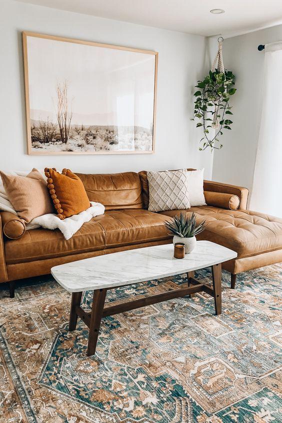 Brown sofa in the bohemian room