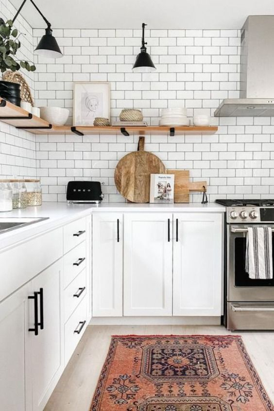 Pure white bohemian kitchen