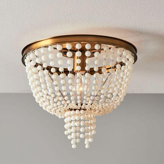 Glass beaded pendant lamp
