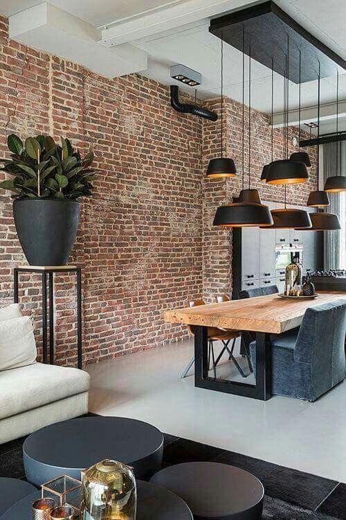 Orange wall bricks in Scandinavian industrial design combination