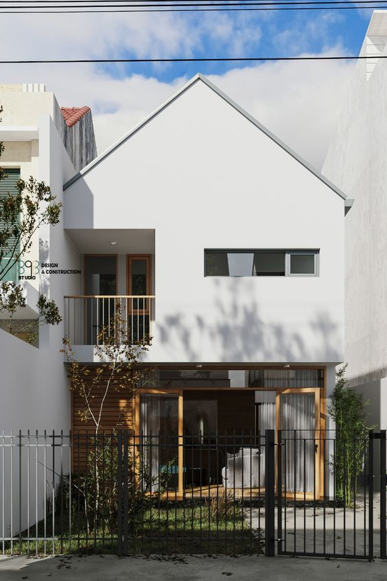 White gable roof industrial home exterior theme