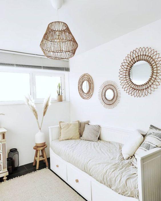 White modern bohemian bedroom wall