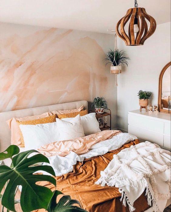Colorful bohemian bedroom theme: Peach
