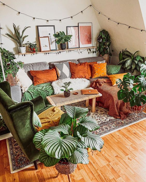 Green accent in the cozy bohemian living room