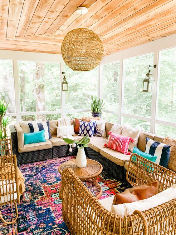 Colorful bohemian sunroom